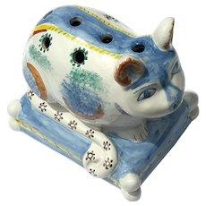 Vintage Signed Portuguese Faience Glazed Pottery Cat Flower Frog