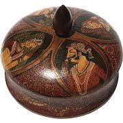 Antique Anglo-Indian Lacquered Tikka Powder Box