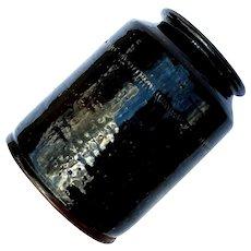 Antique Manganese Lead Glazed Pennsylvania Redware Preserve Jar