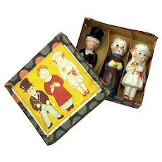 Antique Japanese Bisque Bride, Groom And Preacher Cake Topper Set