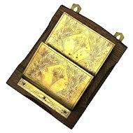 Antique Arts & Crafts Oak And Brass Letter Holder, Circa 1910