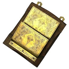 Antique Arts & Crafts Oak And Brass Letter Holder, Circa 1910