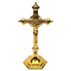 Antique Gilt Metal Standing Crucifix