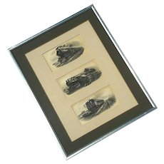 Framed Set Of Three Antique Train Engravings