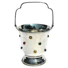 Vintage Jeweled Silverplated Ice Bucket