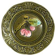 Antique Majolica Pottery Cherry Plate