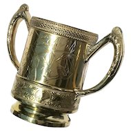 19th Century Wm Rogers Silver Mfg Co Quadruple Plate Loving Cup, Dated 1887