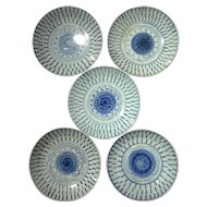 Set Of Five 19th Century Signed Chinese Blue & White Porcelain Bowls
