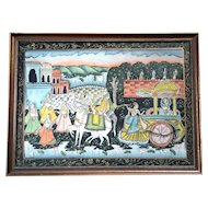 Large Pichhavai Painting Of Krishna With Horse And Female Gopis Dancing