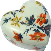 Vintage Signed French Limoges Porcelain Heart Box