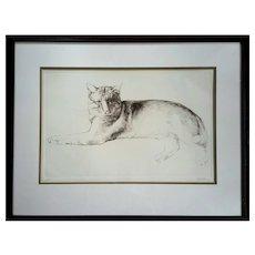 Large Vintage Signed 'Haller' Original Etching Titled 'Stretching Cat'