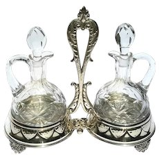 Vintage Signed Spanish Silverplate And Cut Crystal Cruet Set