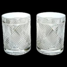 Pair Of Ralph Lauren Crystal Double Old Fashioned Glasses In The Argyle Pattern