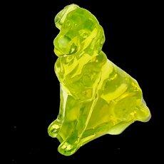 Vintage Signed Moser Vaseline Glass Dog