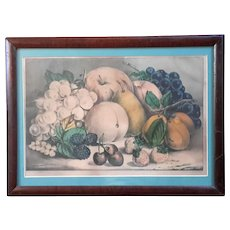 Currier And Ives Fruits Of The Seasons Hand-Colored Lithograph, Circa 1872