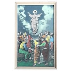 Antique Framed Woven Silk Of The Resurrection