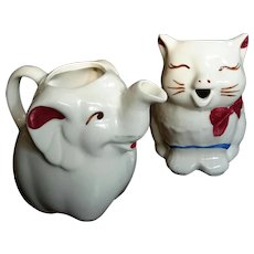 Vintage Pair Of Shawnee Pottery Cat & Elephant Cream Pitchers