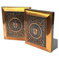 Vintage Pair Of La Salle College Copper Bookends
