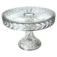 Early American Pattern Glass Sunburst Cake Stand