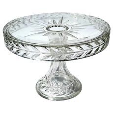 Early American Pattern Glass Sunburst Cake Stand