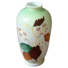 Antique Floral Painted Bristol Glass Vase