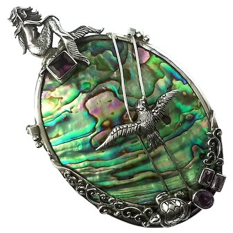 Large Sterling Silver And Abalone Shell Mermaid Pin Pendent