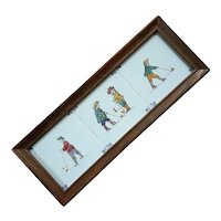 Set Of Three Vintage Framed Delft Golfer Tiles