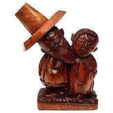 Vintage Folk Art Carved Wood Asian Figures