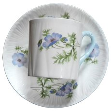 Vintage Shelley Fine Bone China Blue Poppy Demitasse Cup And Saucer