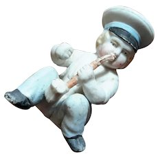 19th Century German Bisque Figure Smoking A Pipe