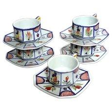 Set Of Five Signed Mistral Blue Octagonal Quimper Cups & Saucers