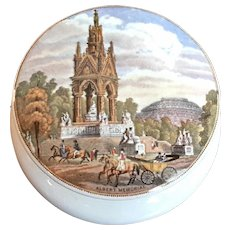 19th Century Staffordshire Transferware Pottery Pot Lid Of Albert Memorial