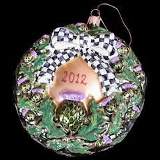 Mackenzie Childs 2012 Thistle Wreath Christmas Ornament