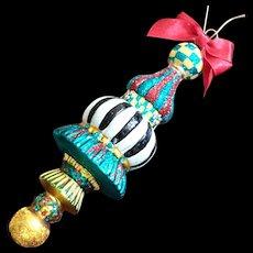 Mackenzie Childs Stripes & Checks Glass Tassel Christmas Ornament