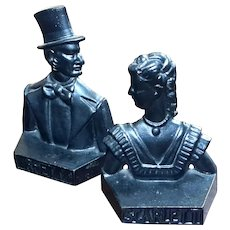 Gone With The Wind Rhett And Scarlett Cast Iron Bookends, Circa 1937