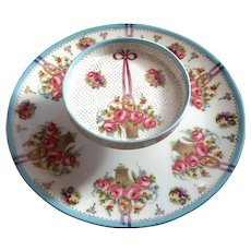 Vintage Prov Saxe ES Germany Porcelain Two Tiered Serving Plate