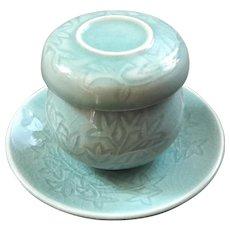 Asian Celadon Porcelain Tea Cup With Strainer