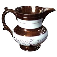 19th Century English Copper Luster Pitcher