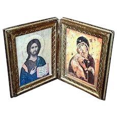 Vintage Italian Florentine Gilt Wood Folding Plaque Of Joseph, Mary And Jesus