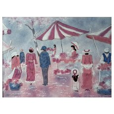 Mid-Century Vintage Signed Diane Mingolla Enamel Painting