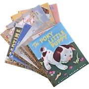 Set Of Nine Vintage Child's Little Golden Books, Circa 1960