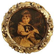 Vintage Italian Florentine Gilt Wood Girl With Dog