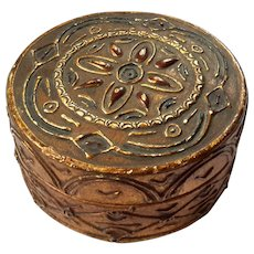 Antique Italian Florentine Gilt Wood Round Box