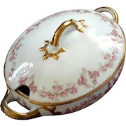 Antique Jean Pouyat French Limoges Large Porcelain Soup Tureen