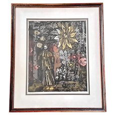 Original Signed Woodblock Print Of St Francis In The Garden