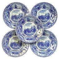 Set Of Five Staffordshire Landing Of The Pilgrims Plates