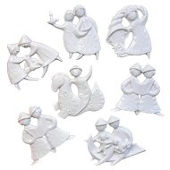 Set Of Seven Haviland French Porcelain Christmas Ornaments