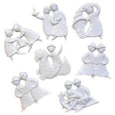 Set Of Seven Haviland French Porcelain Christmas Ornaments