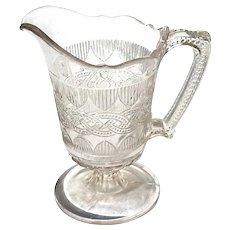 Early American Pattern Glass Triple Mold Pitcher