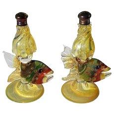 Vintage Pair Of Venetian Glass Fish Salt & Pepper Shakers